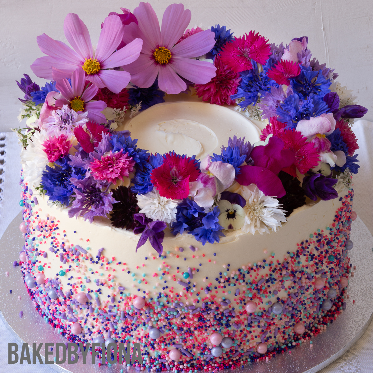 Sydney Cakes, Baked By Fiona 8in cake with flowers