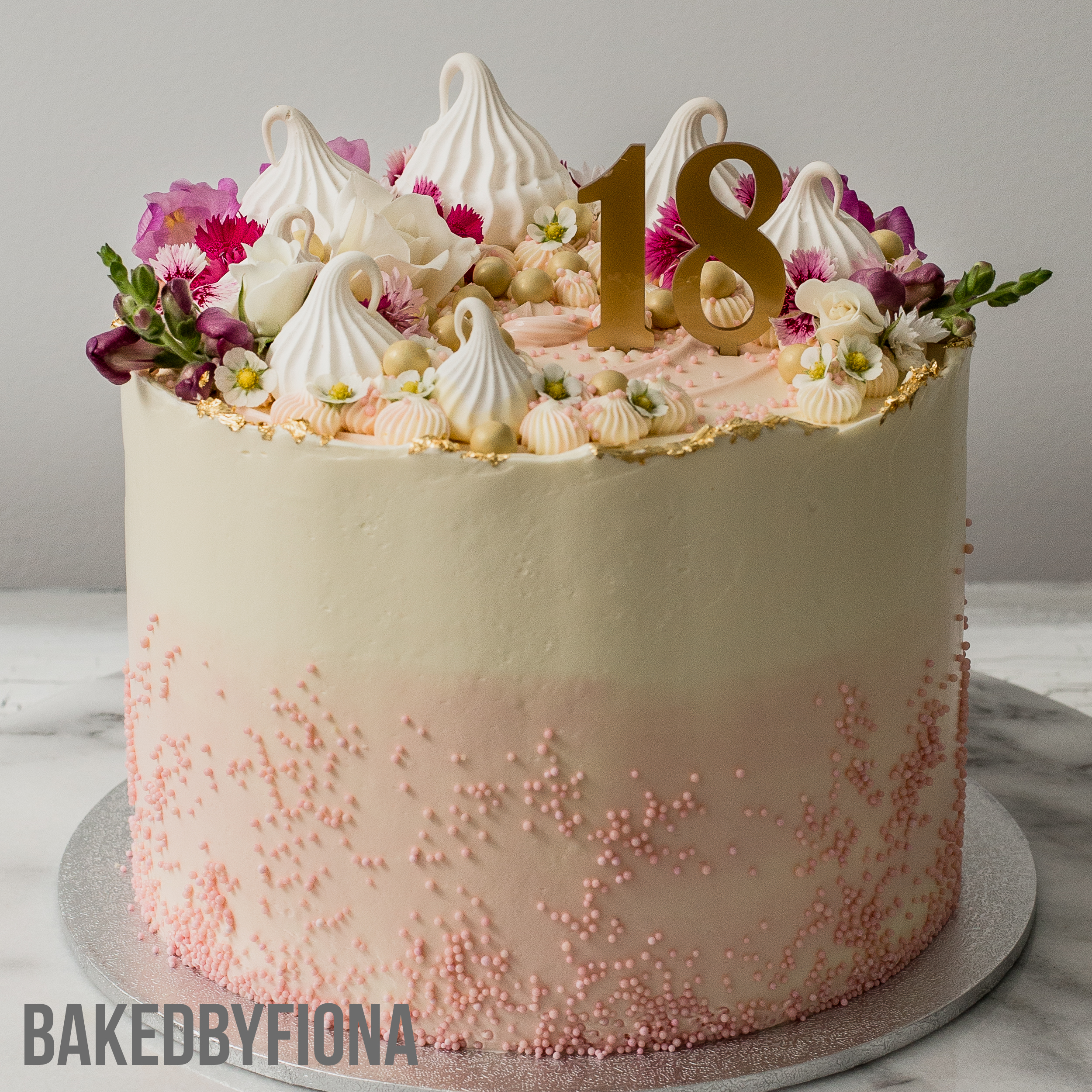 Sydney Cakes, Baked By Fiona 8in midi pink gold cake