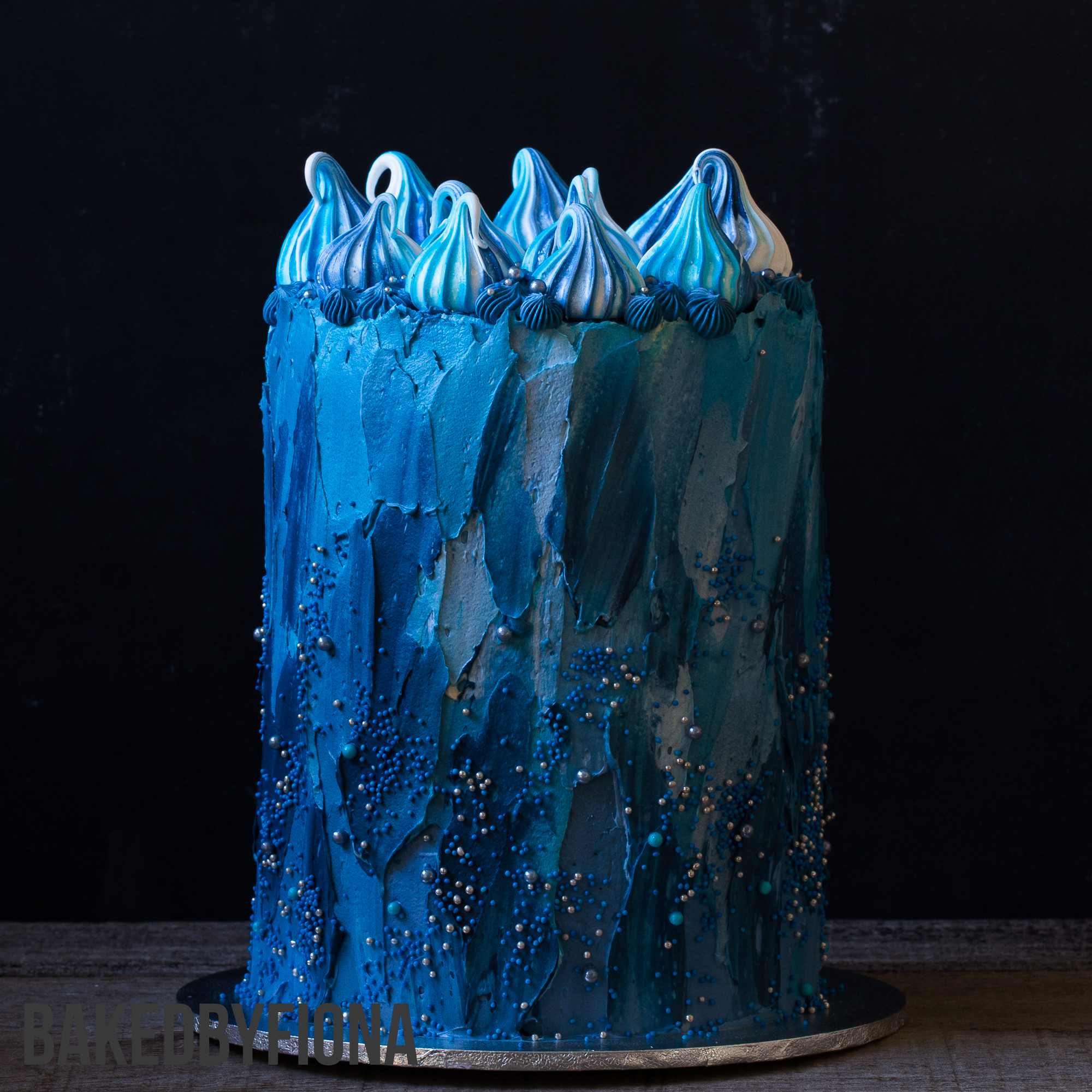 Sydney Cakes, Baked By Fiona 6 inch tower blue textured buttercream cake