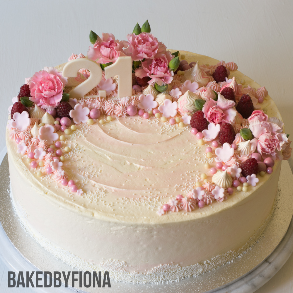 Sydney Cakes, Baked by Fiona 12 inch cake in cream and pink