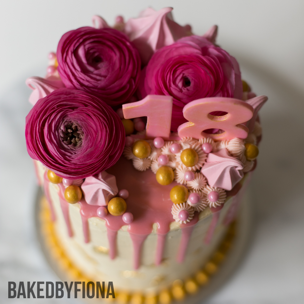 Sydney Cakes, Baked by Fiona 6 inch tower cake in cream, gold and pink