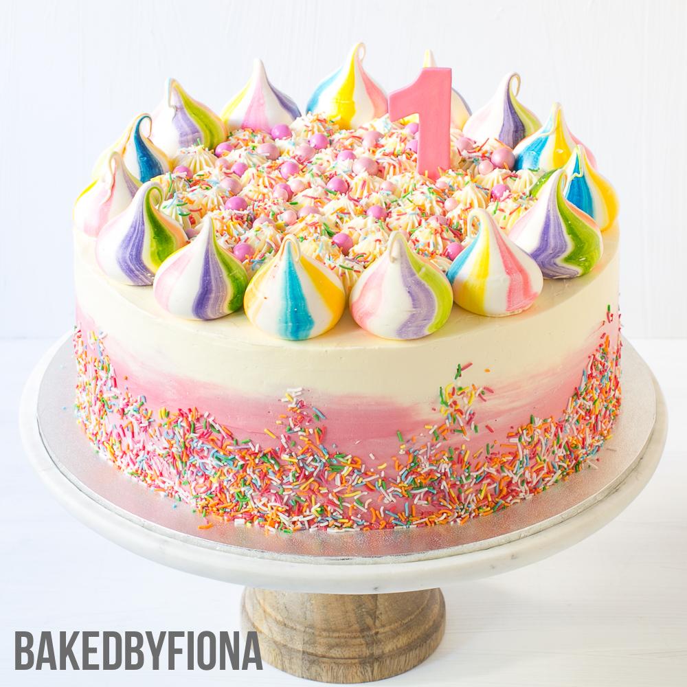 Sydney Cakes Baked By Fiona 10in 1st Birthday Rainbow Meringue Cake