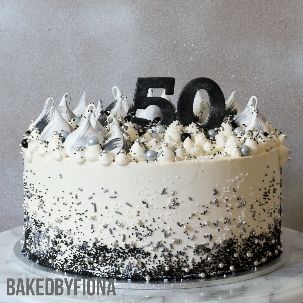 Sydney Cakes, BakedByFiona silver and black 50th birthday cake