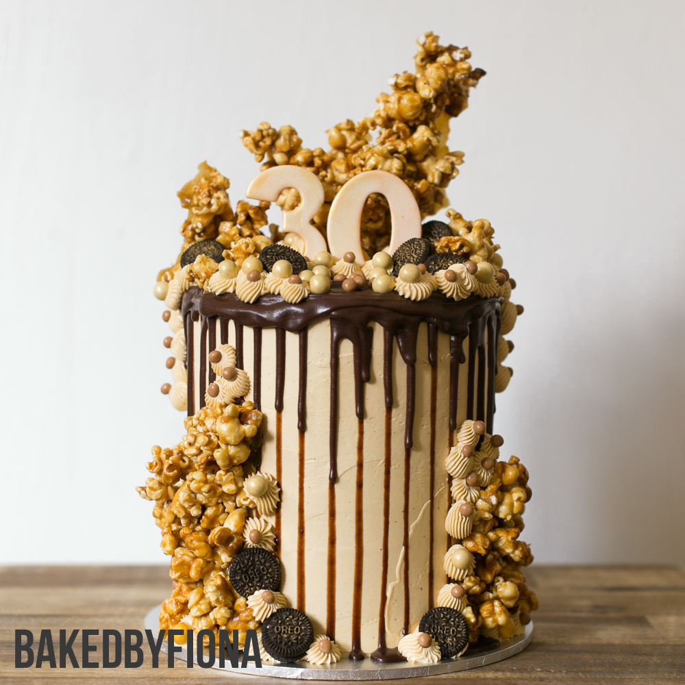 Sydney Cakes, Baked by Fiona 8 inch caramel popcorn tower cake