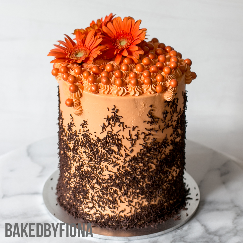Sydney Cakes, Baked by Fiona 6 inch chocolate and orange tower cake