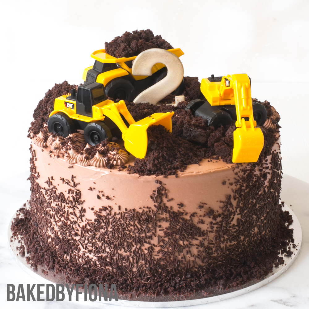 Sydney Cakes, Baked by Fiona 8 inch construction and digger theme cake