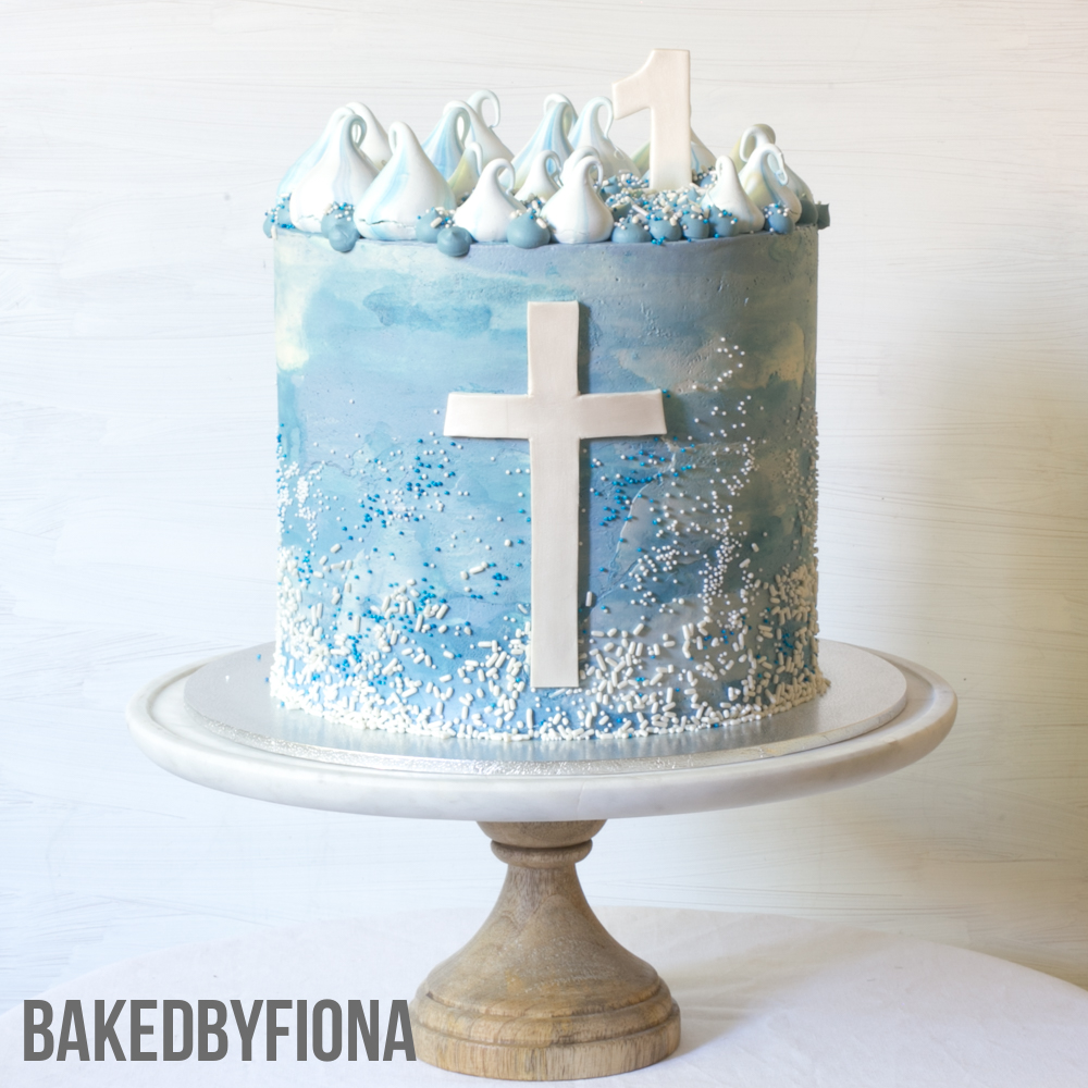 Sydney Cakes, Baked By Fiona 8in tower chocolate cake with a blue watercolour buttercream coating