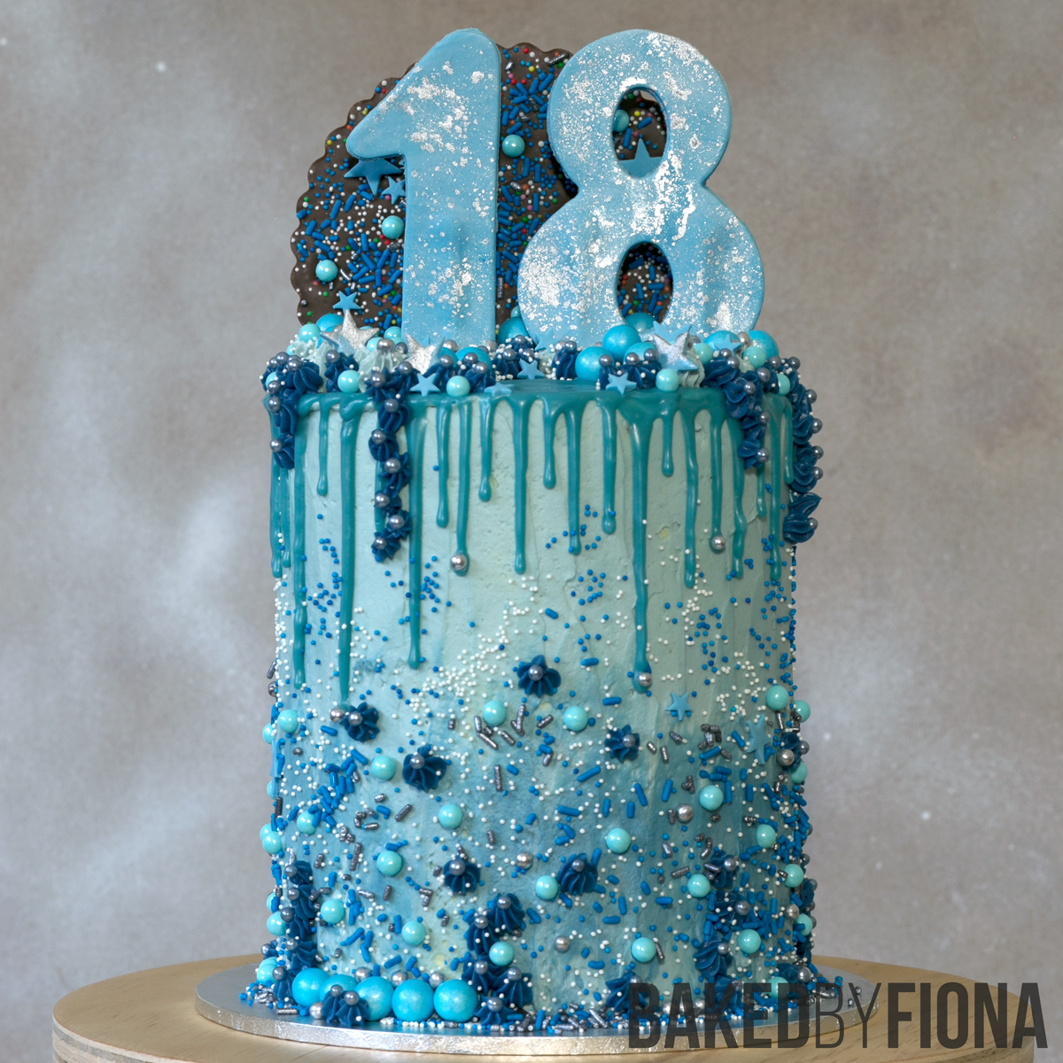 Sydney Cakes, Baked by Fiona blue sparkle 18th birthday cake