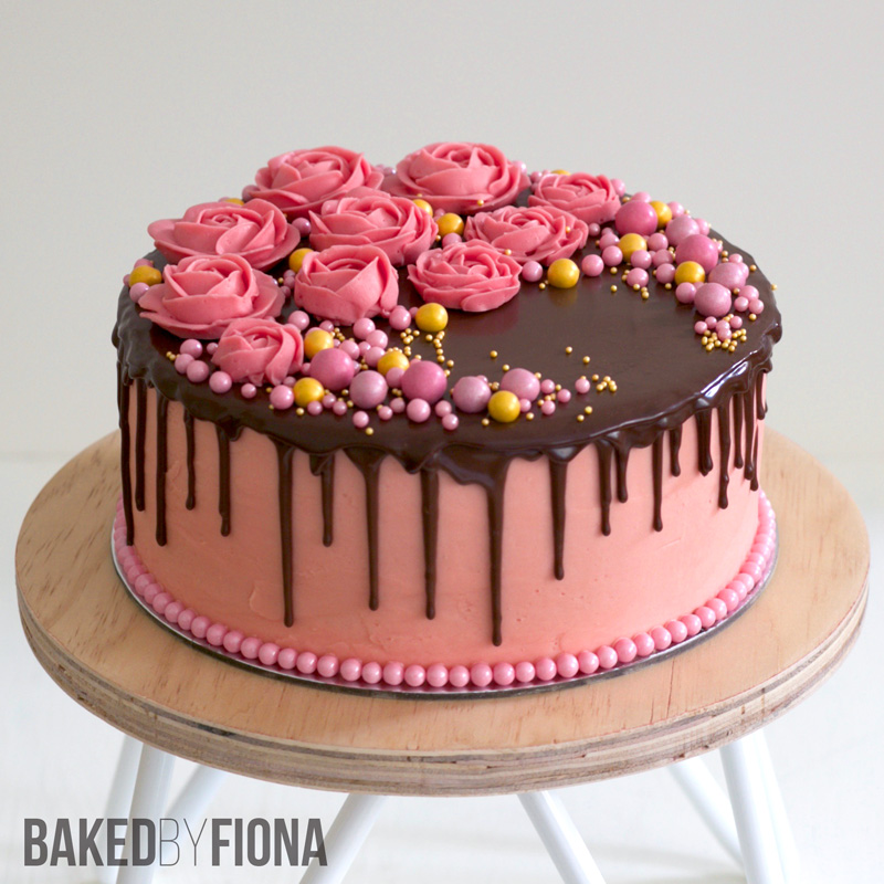 Sydney Cakes, Baked by Fiona pink buttercream flower cake