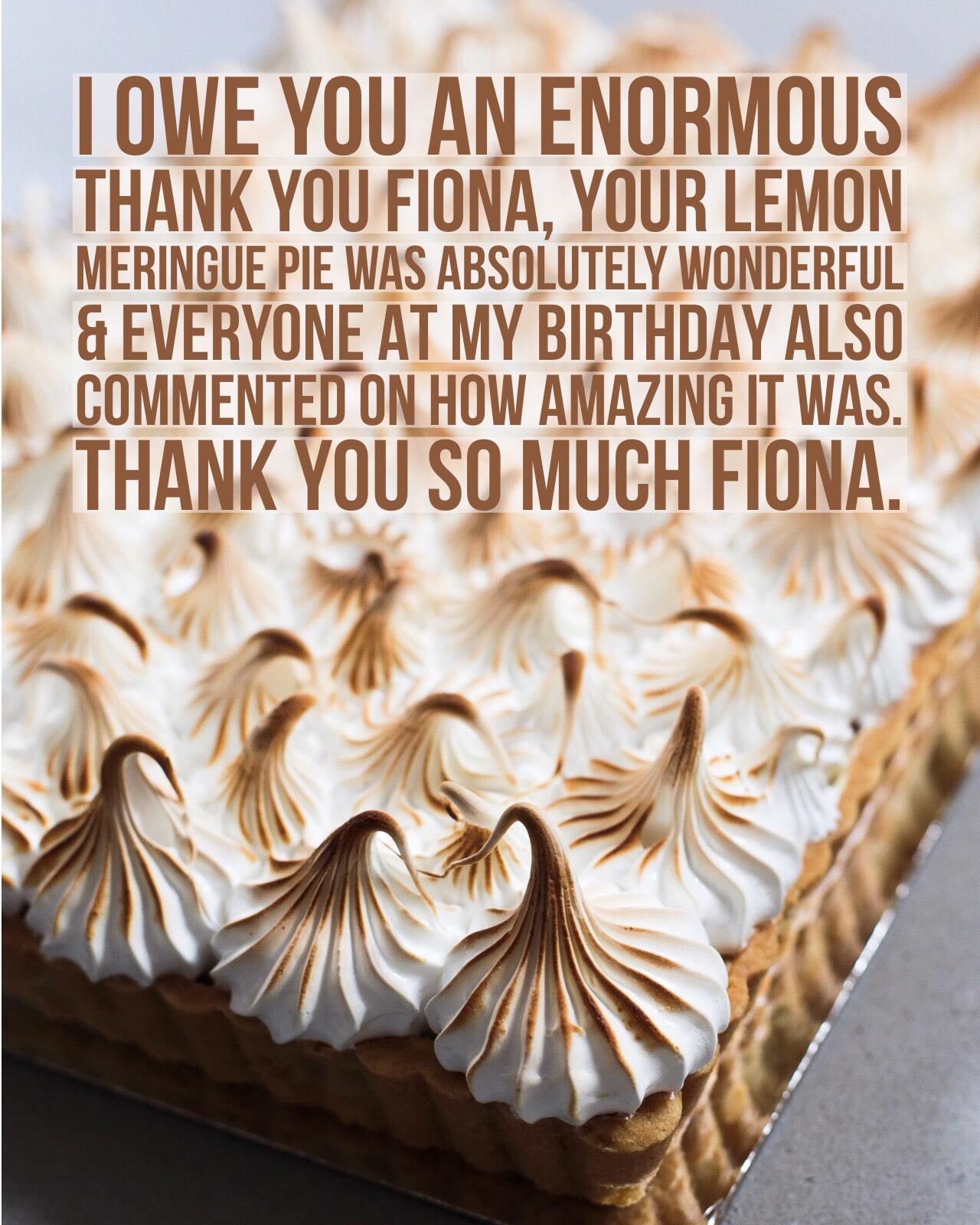 Sydney Cakes, Baked By Fiona lemon meringue pie
