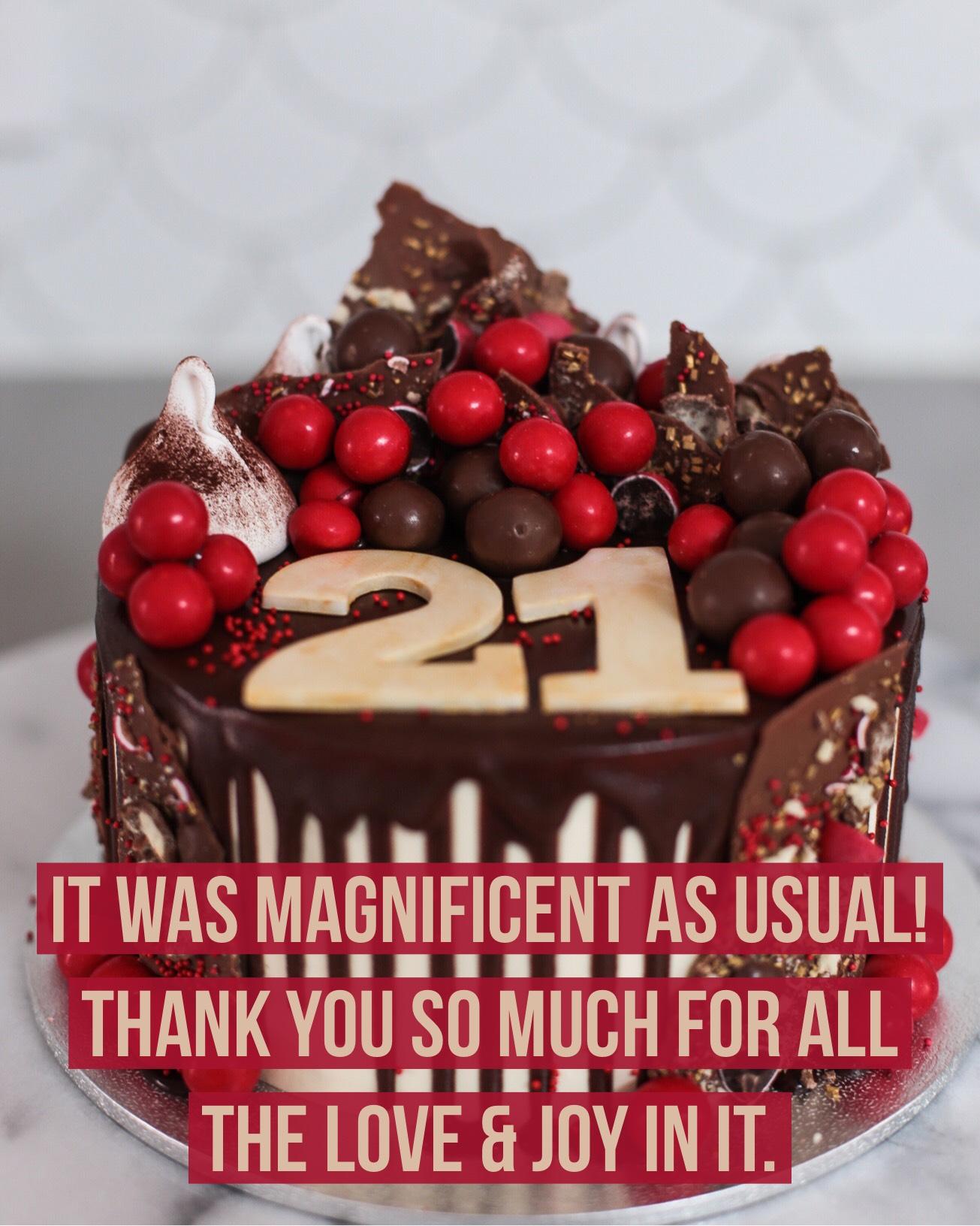 Sydney Cakes, Baked By Fiona 21st red velvet cake