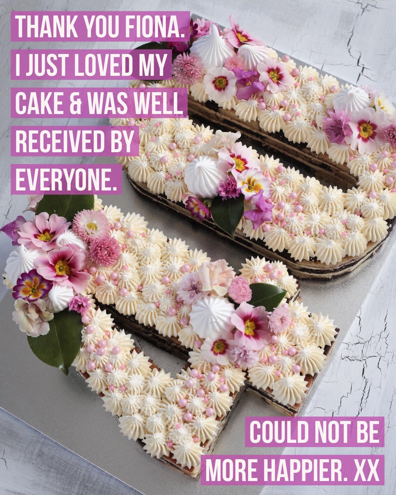 BakedByFiona 40th number cake testimonial