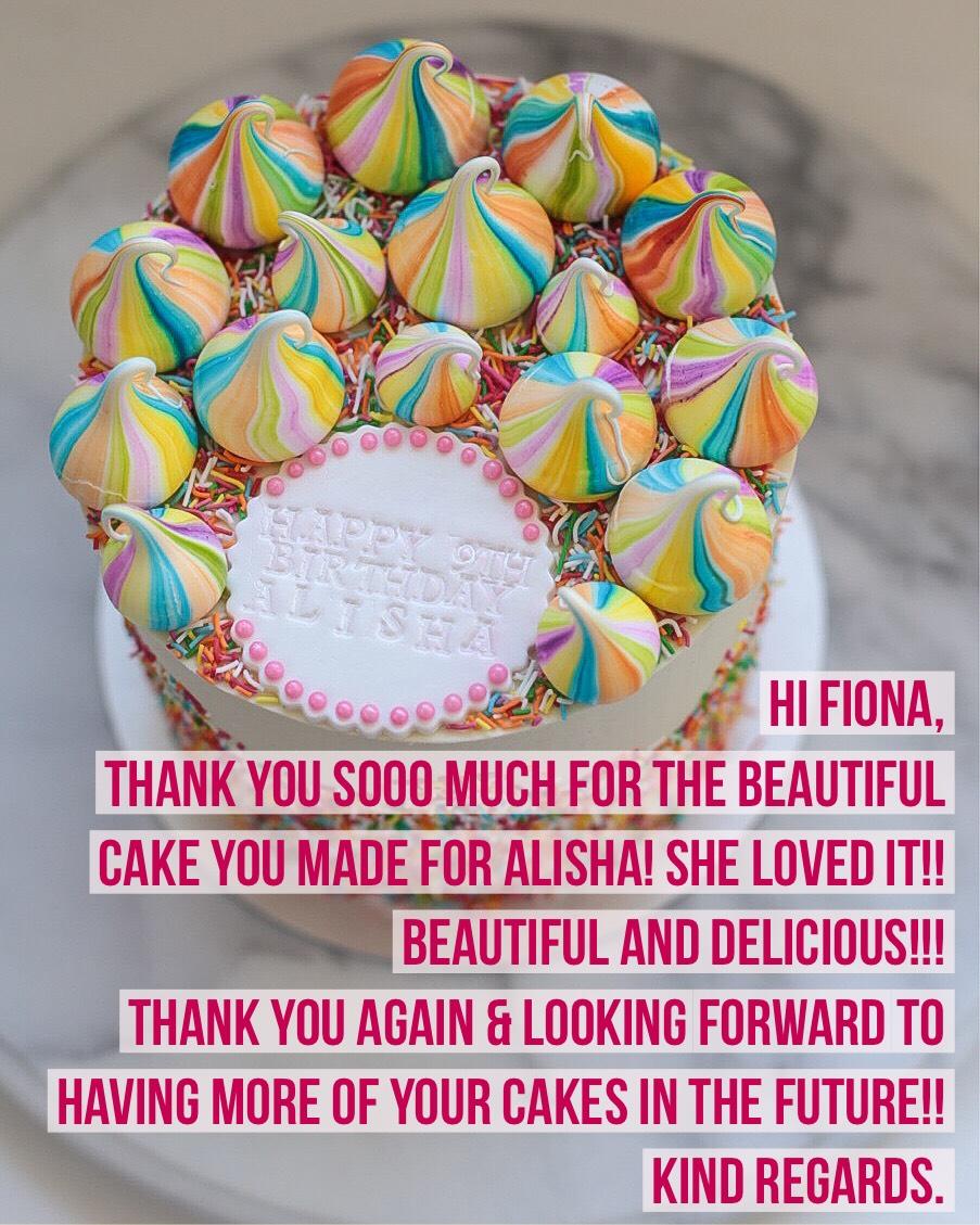Sydney Cakes, Baked By Fiona rainbow meringue cake